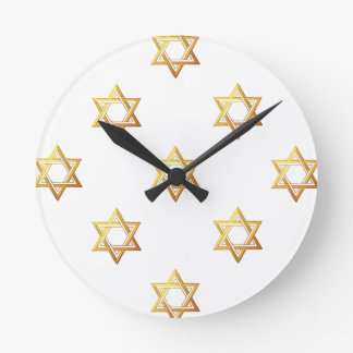 """3-D"" Golden Star of David Round Clock"