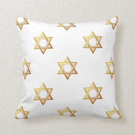 """3-D"" Golden Star of David Throw Pillow"