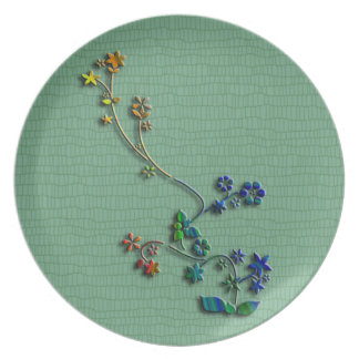3-D Green Floral plate