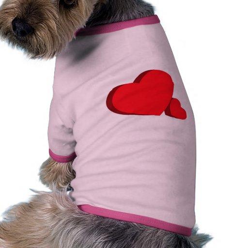 3-D-hearts Camisa De Perro