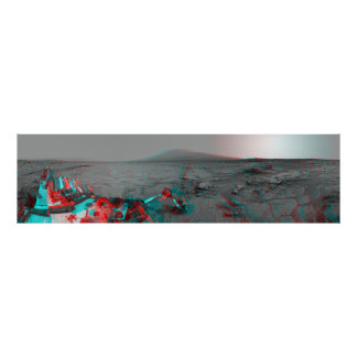 3-D Image of Mars Landscape Curiosity Landrover Posters
