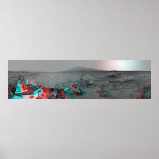 3-D Image of Mars Landscape Curiosity Landrover Poster