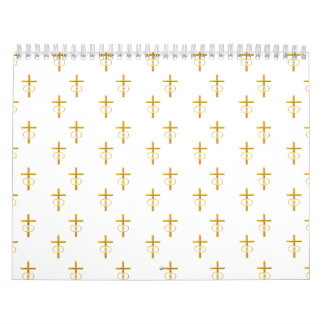 """3-D"" Look Golden Cross with Wedding Rings Calendar"