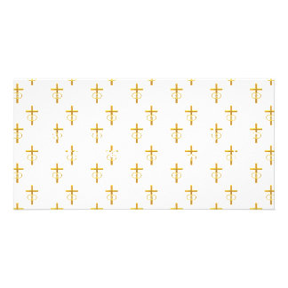 """3-D"" Look Golden Cross with Wedding Rings Card"