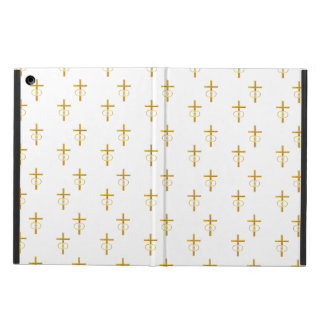 """3-D"" Look Golden Cross with Wedding Rings iPad Air Covers"