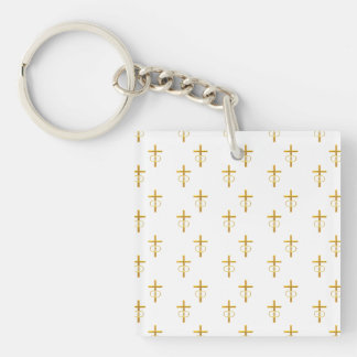 """3-D"" Look Golden Cross with Wedding Rings Keychain"