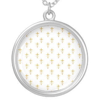 """""""3-D"""" Look Golden Cross with Wedding Rings Silver Plated Necklace"""