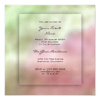 3-D Mint Green Greenery Pink Pastel Ombre Grass Card