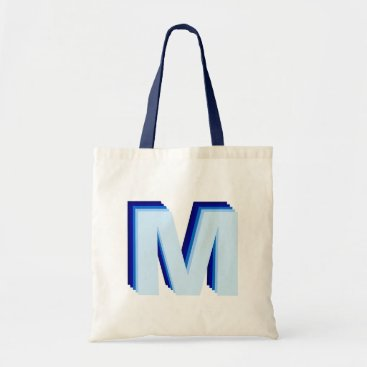 Beach Themed 3-D Ombre Monogram Blue Tote