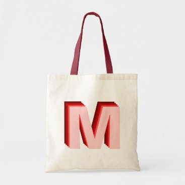 Beach Themed 3-D Ombre Monogram Red Pink Tote