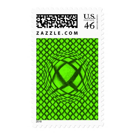 3-D Optical Illusion Bright Green and Black Postage Stamps