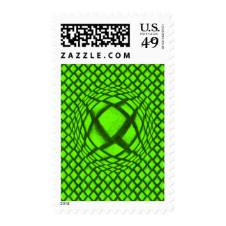 3-D Optical Illusion Bright Green and Black Postage