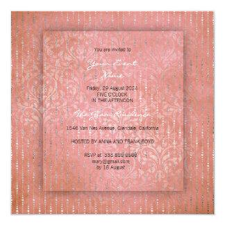 3-D Peach Coral Silver Drops Damask Bridal Shower Card