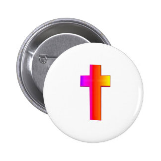 3-D Rainbow Cross Pinback Button