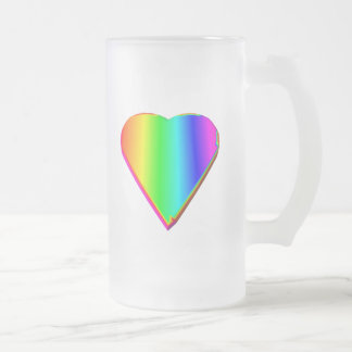 3-D Rainbow Heart #5 Frosted Glass Beer Mug
