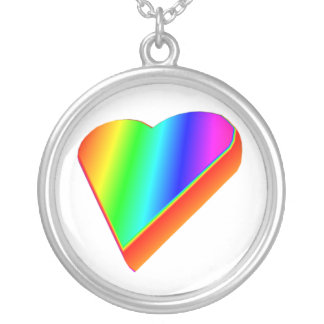 3-D Rainbow Heart Round Pendant Necklace
