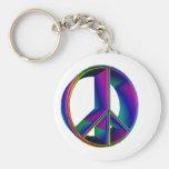 3-D Rainbow Peace Sign #2 Key Chains