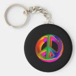 3-D Rainbow Peace Sign #3 Keychains