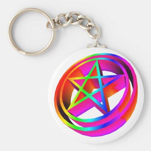 3-D Rainbow Pentacle #4 Keychains