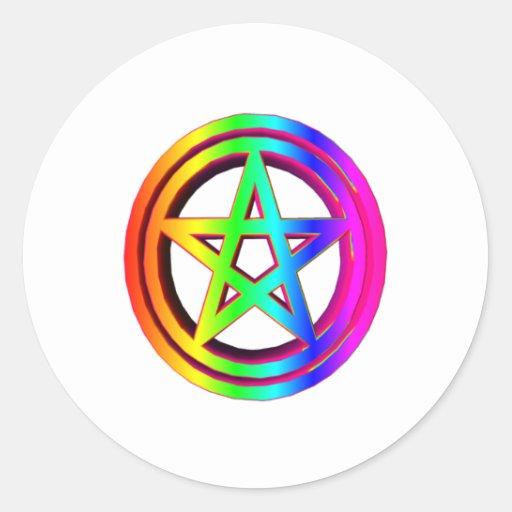 3-D  Rainbow Pentacle #5 Classic Round Sticker