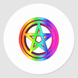 3-D  Rainbow Pentacle #5 Stickers
