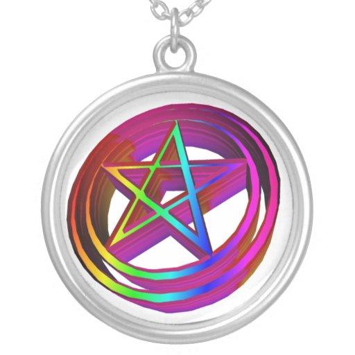 3-D Rainbow Pentacle Necklaces