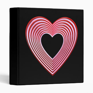 """""""3-D"""" Red and Pink Hearts 3 Ring Binder"""