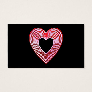 """3-D"" Red and Pink Hearts Business Card"