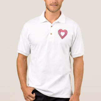 """3-D"" Red and Pink Hearts Polo Shirt"