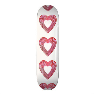 """""""3-D"""" Red and Pink Hearts Skateboard"""