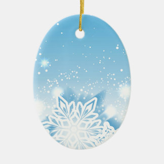 3-D snowflakes Ceramic Ornament