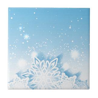 3-D snowflakes Ceramic Tile