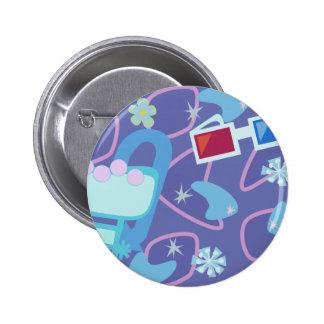 3-D Specs Fifties Boomerang Pattern Pinback Buttons