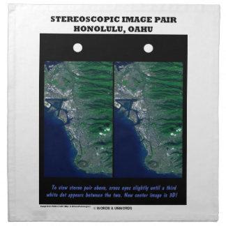 3-D Stereoscopic Image Pair Honolulu, Oahu Cloth Napkin