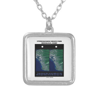 3-D Stereoscopic Image Pair Honolulu, Oahu Square Pendant Necklace