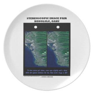 3-D Stereoscopic Image Pair Honolulu, Oahu Plate