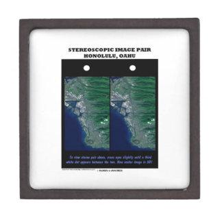 3-D Stereoscopic Image Pair Honolulu, Oahu Premium Jewelry Box