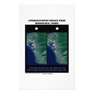 3-D Stereoscopic Image Pair Honolulu, Oahu Custom Stationery