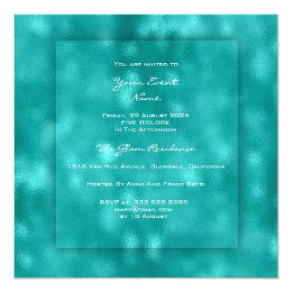 3-D Teal Aquatic Tiffany Urban Beach OCcean Glass Card