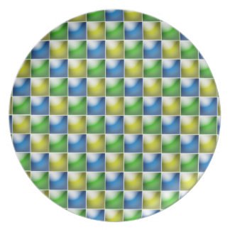 3-D tiles blue-green-yellow plate