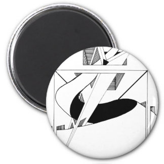 3-D Triangles and Squares 2 Inch Round Magnet