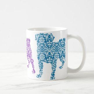 3 Damask Pugs Coffee Mug
