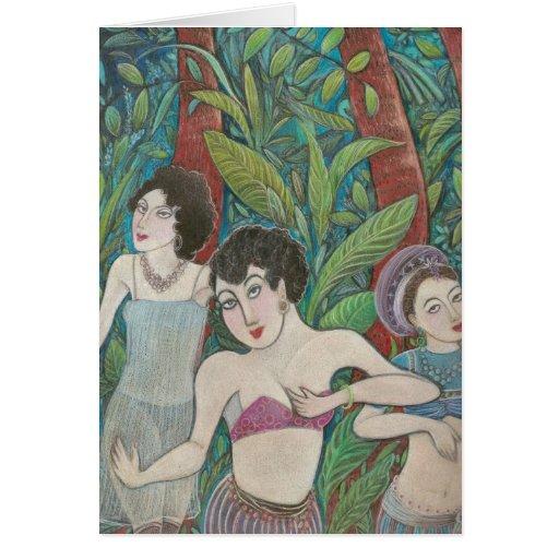 '3 Dancers' greeting card