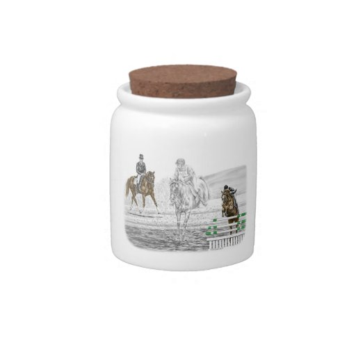 3-Day Eventing Horses Combined Training Candy Dish