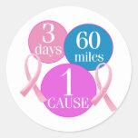3 Days 60 Miles Round Stickers