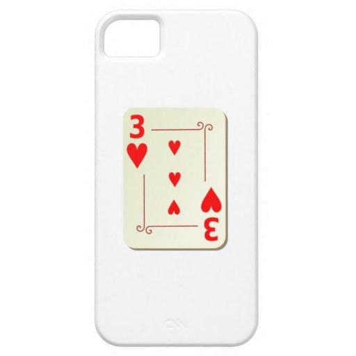 3 del naipe de los corazones funda para iPhone 5 barely there