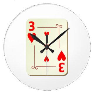 3 del naipe de los corazones relojes