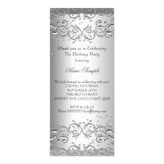 3 Diamond Silver Birthday Party Card