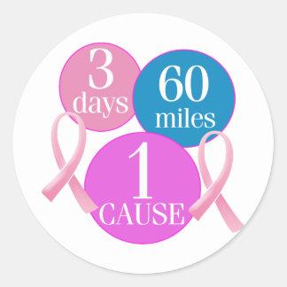 3 días 60 millas pegatina redonda