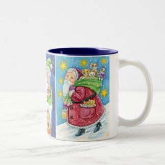 3 Different Santa Claus Cartoon Christmas Designs Coffee Mugs
